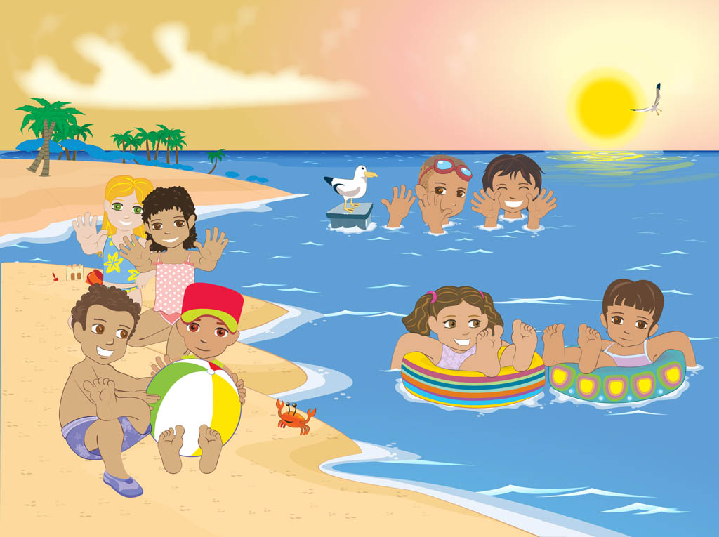 Kids At The Beach Vector Art Graphics Freevector Com