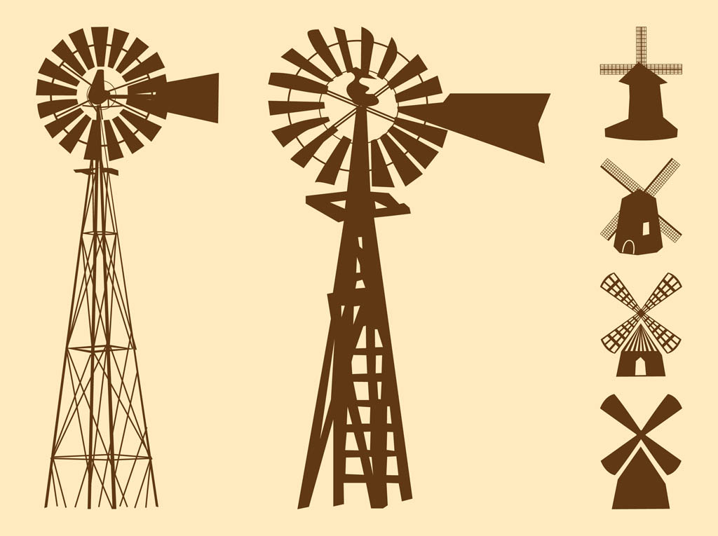 Line Drawing Windmill : Windmills silhouettes vector art graphics freevector