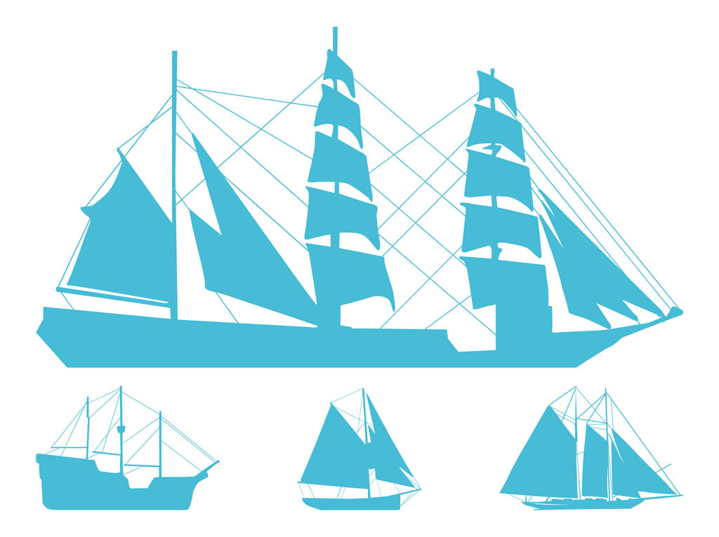 Sailing Ships Silhouettes Vector Art & Graphics ...