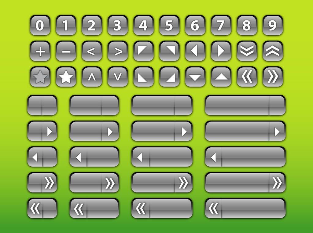 Silver Interface Buttons
