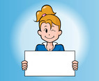 Cartoon Girl With Board