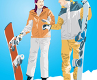 Snowboard Boy & Girl Illustration