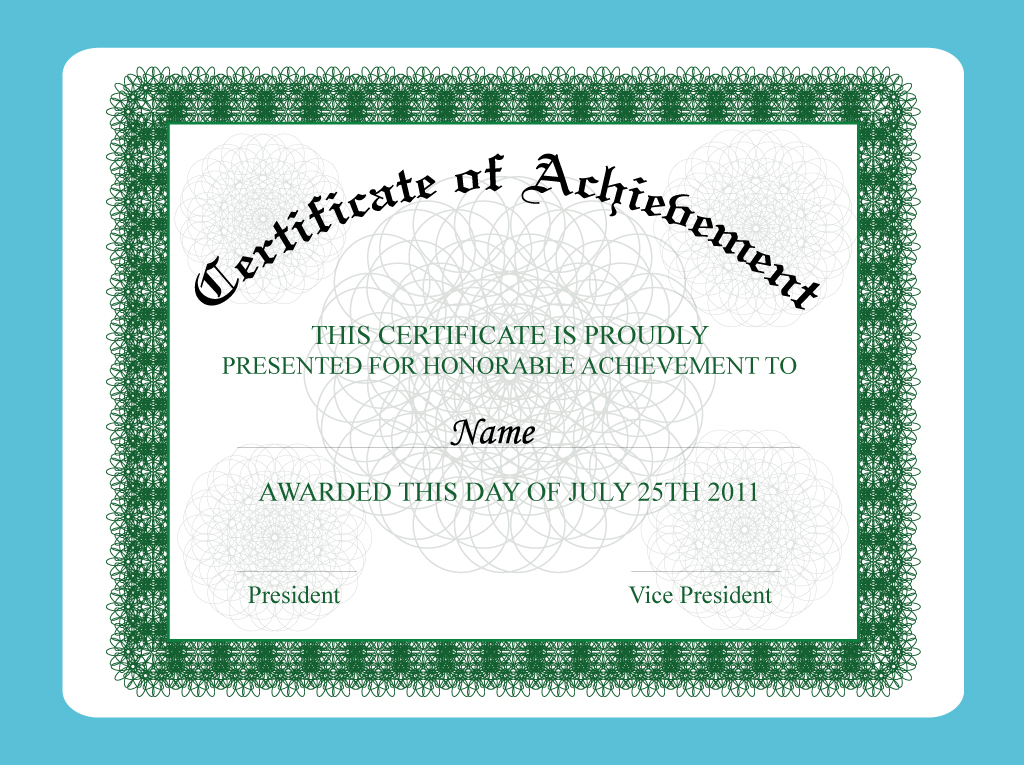 Achievement Certificate Vector Art  Graphics  FreevectorCom