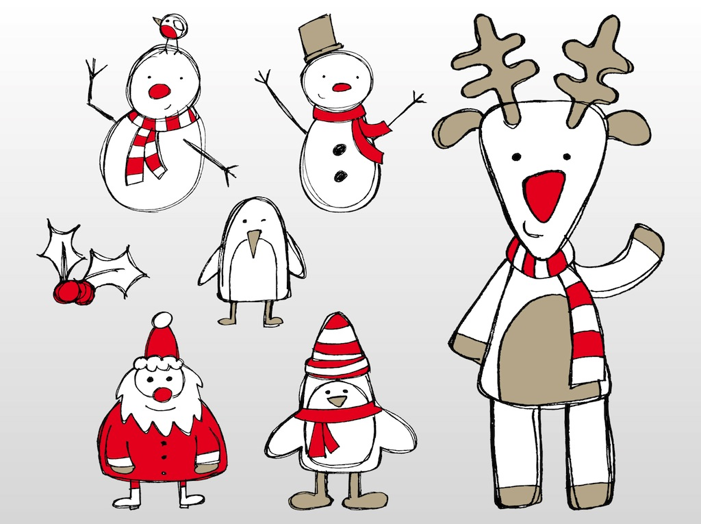 Christmas Doodles Vector Art & Graphics