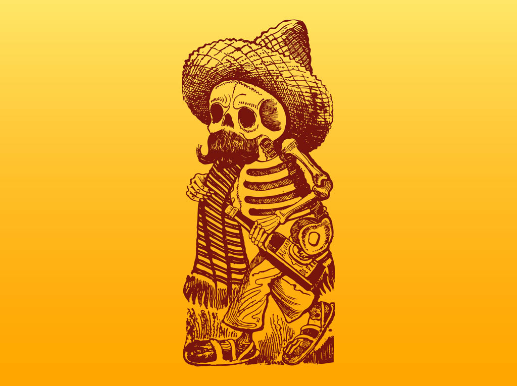 mexican skeleton character vector art amp graphics