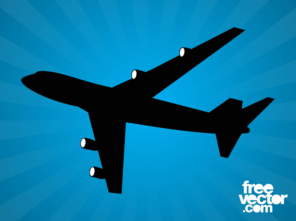 Flying Airplane Silhouette