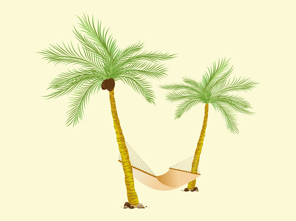Palms And Hammock Vector