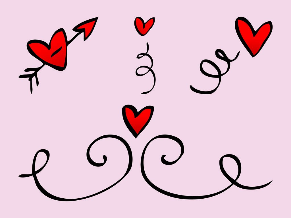 Heart Doodles Vector