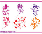 Colorful Swirling Flowers Set