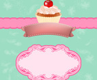 Vintage Cupcake Vector Background