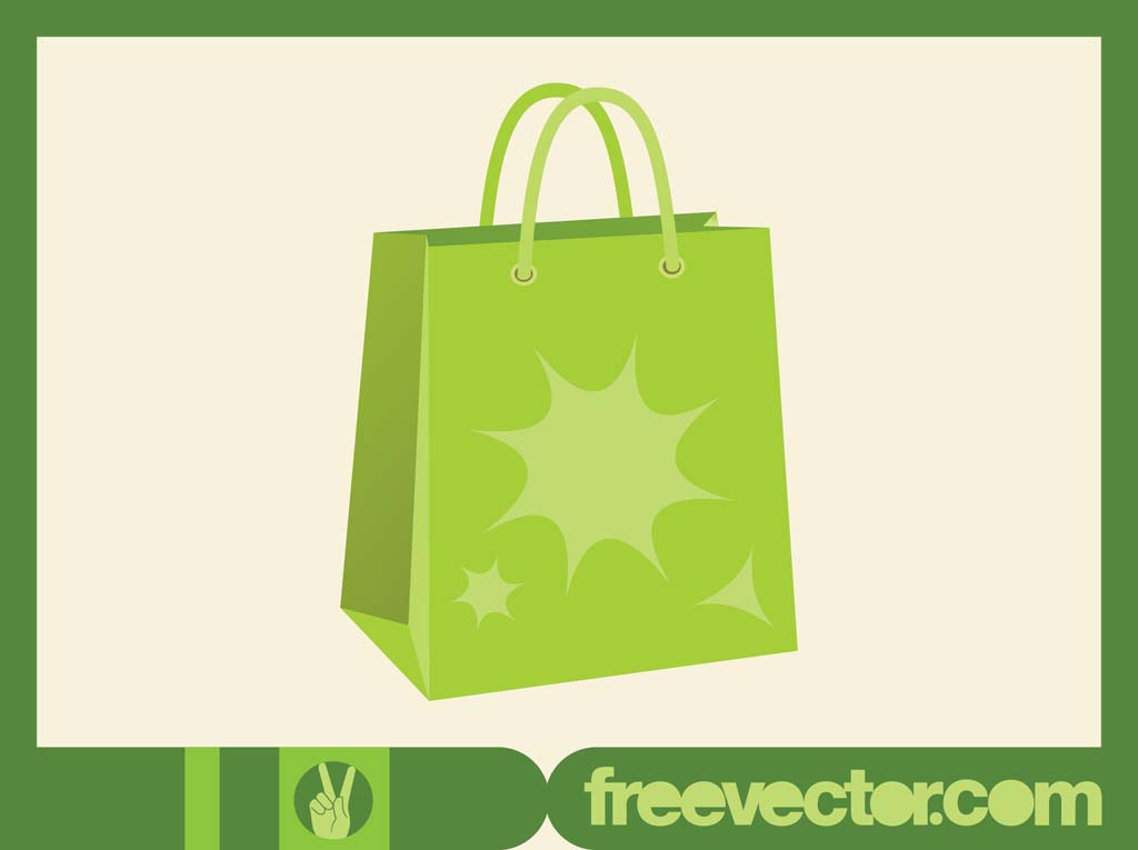 Green Shopping Bag Vector
