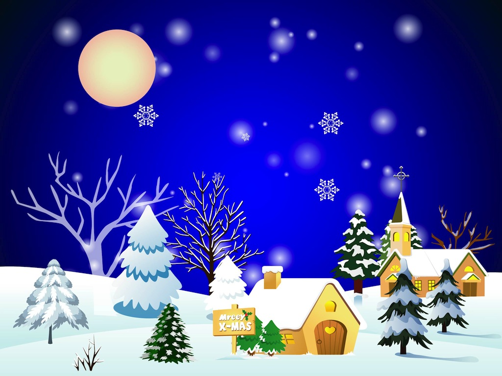 Christmas Town Vector Art & Graphics | freevector.com