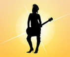 Girl With Guitar Silhouette