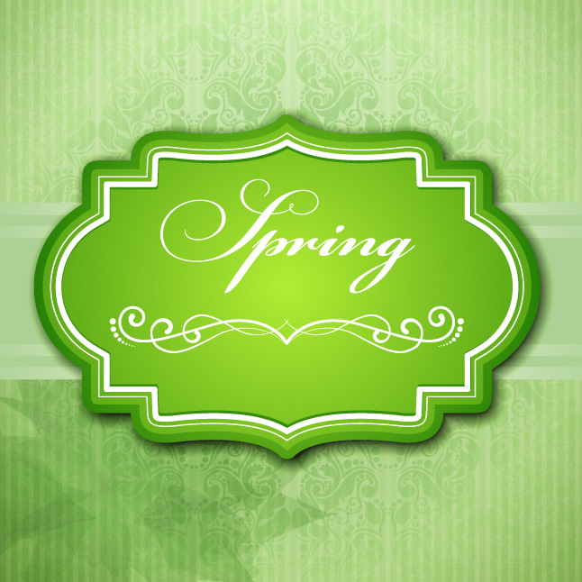 Green Spring Label Vector