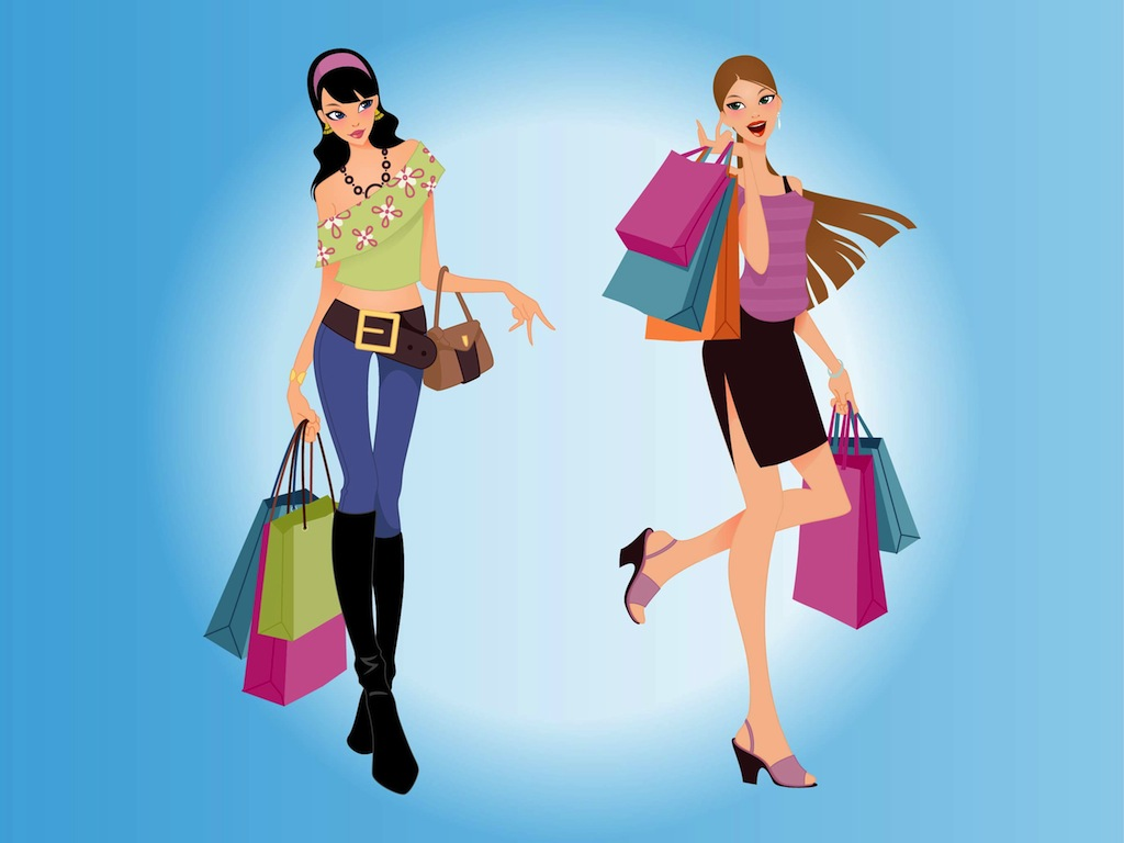 eb7ab0e16 Shopping Women Vector Vector Art & Graphics | freevector.com