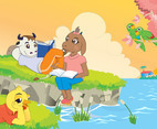 Cartoon Animals Reading Book
