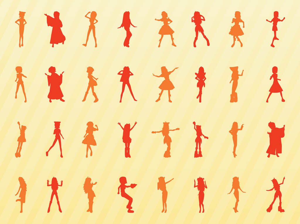 Vector Girl Silhouettes