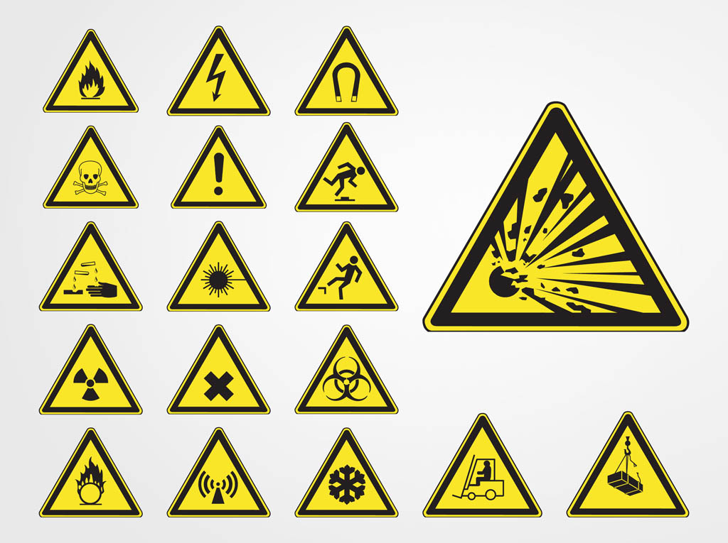 Physical Hazard Symbols Hazard Symbols Vector ...