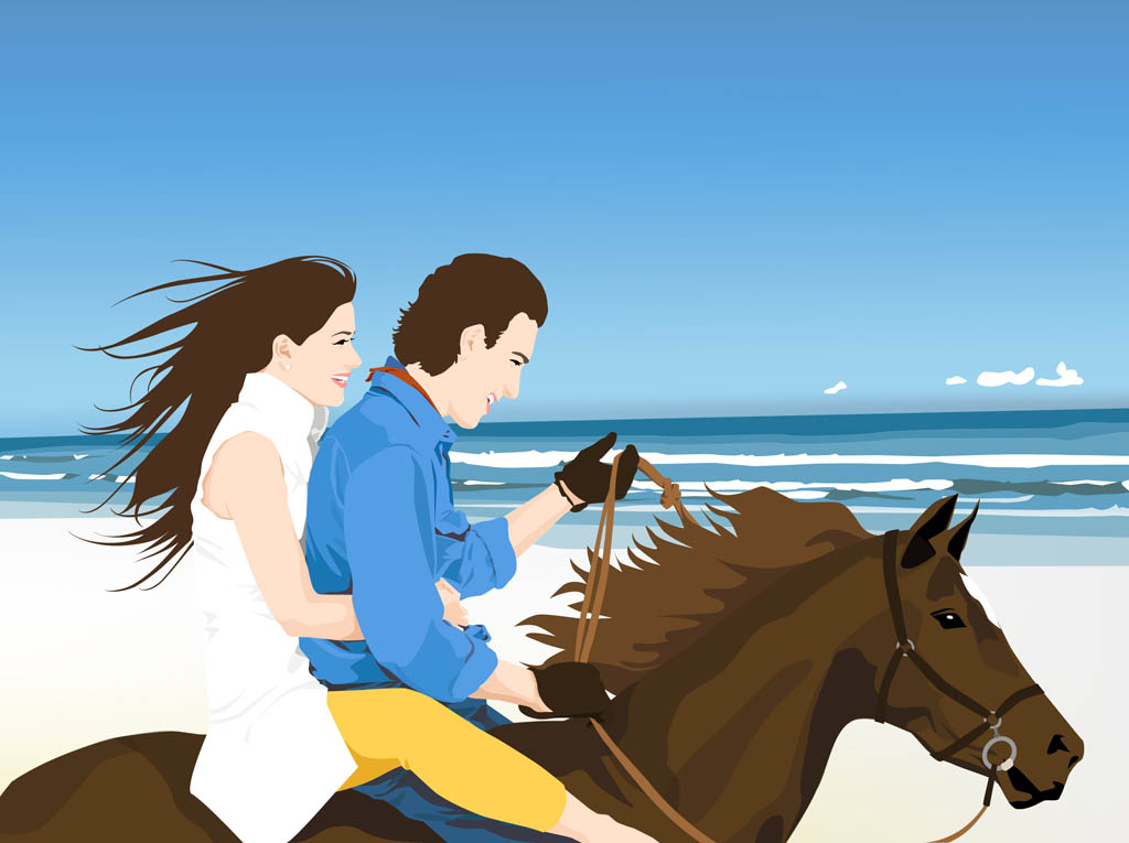 Happy Couple On Horse Vector Art Graphics Freevector Com