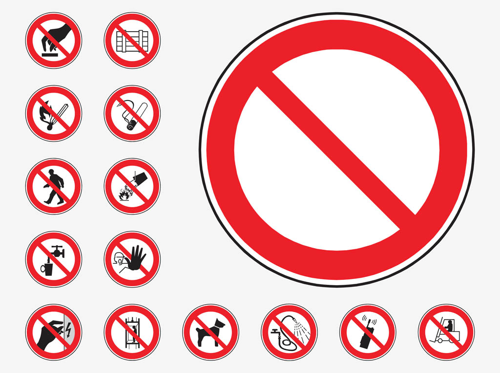 Prohibition Signs Vector Art Graphics Freevector