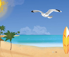 Summer Beach Vector Art