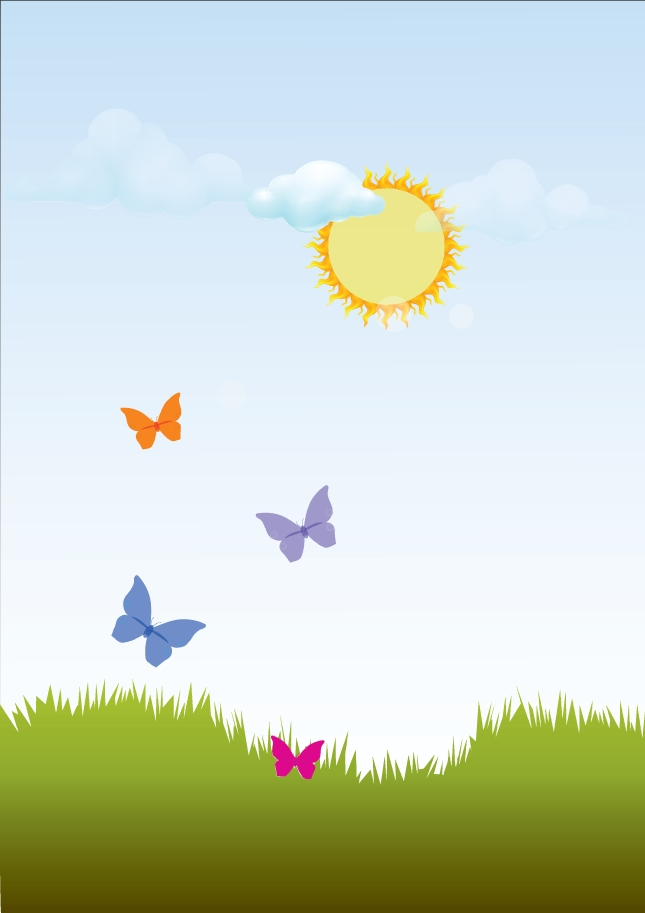 Summer Butterfly Landscape Vector