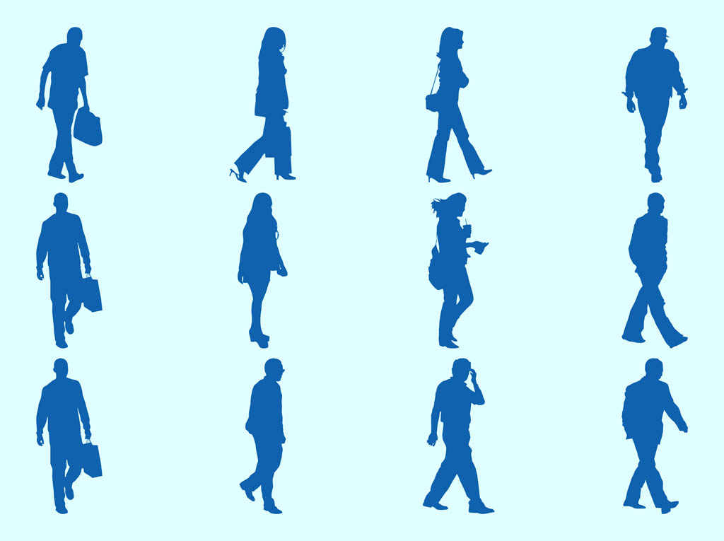 Walking People Silhouettes Graphics Vector Art & Graphics ...