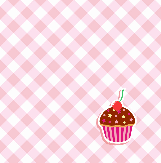 Gingham Cupcake Vector Background