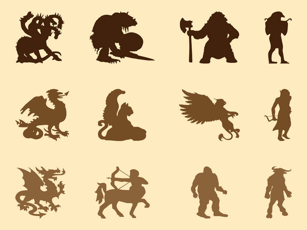 Mythological Creatures Graphics Vector Art amp Freevectorcom