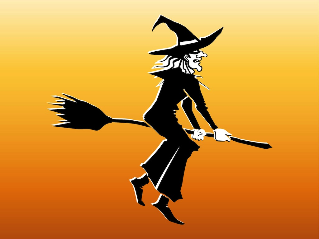 witch on broom vector art graphics