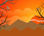 Birds in Trees Background Vector