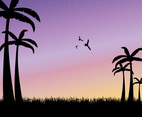 Sunset Palm Tree Vector Background