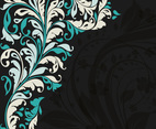 Black Teal Floral Background