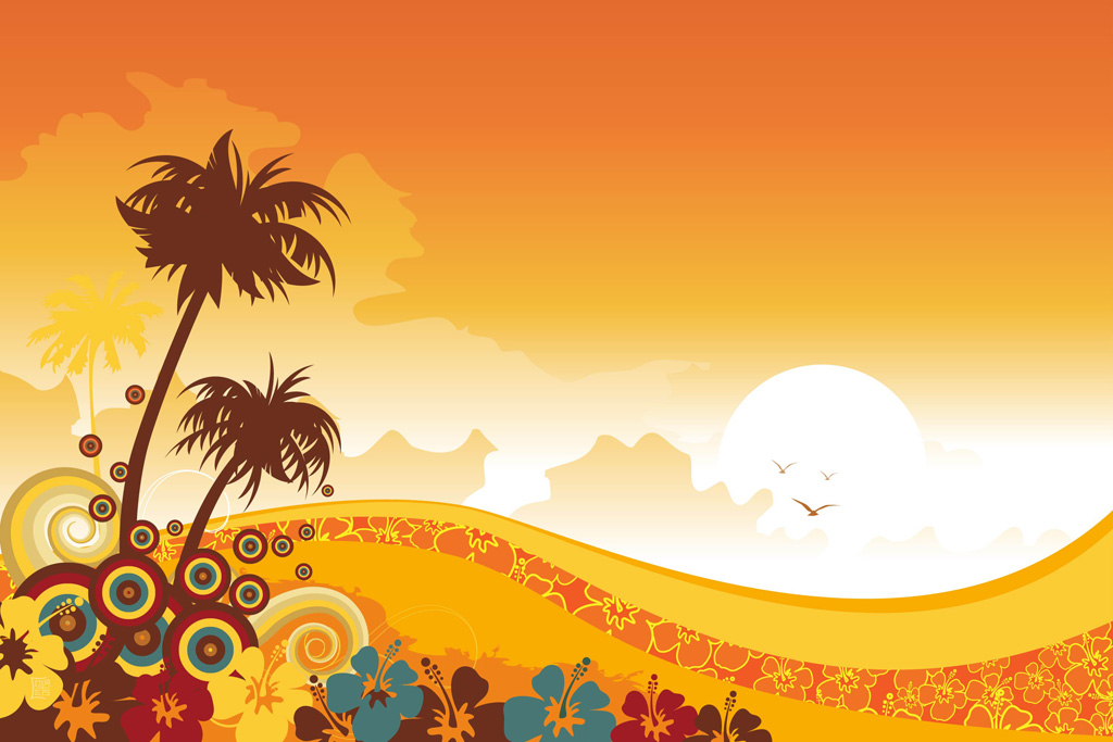 Enjoy Tropical Summer Holidays Backgrounds Vector 04 Free: Tropical Background