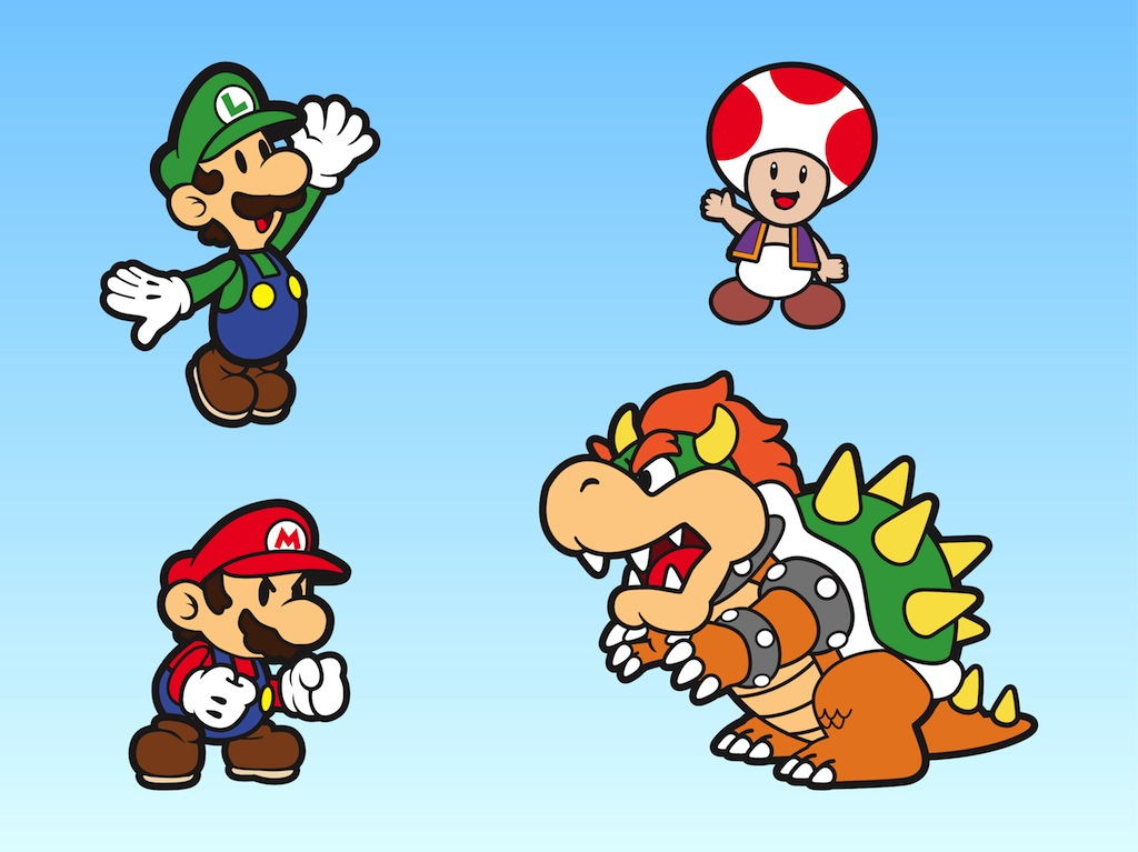 Super Mario Bros Characters Vector Art Graphics Freevector Com