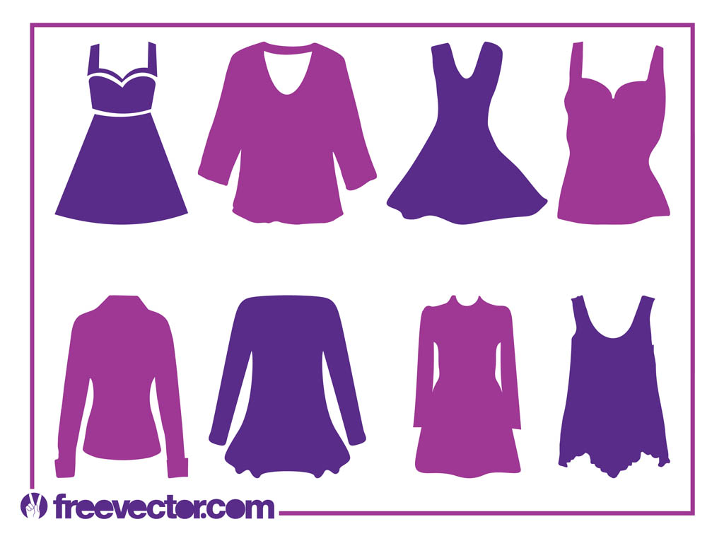 Women S Clothes Silhouettes Vector Art Graphics