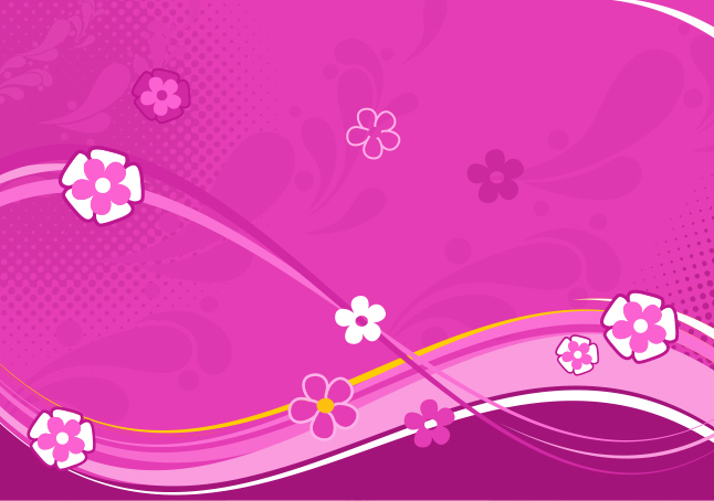 Pink Abstract Floral Waves Vector