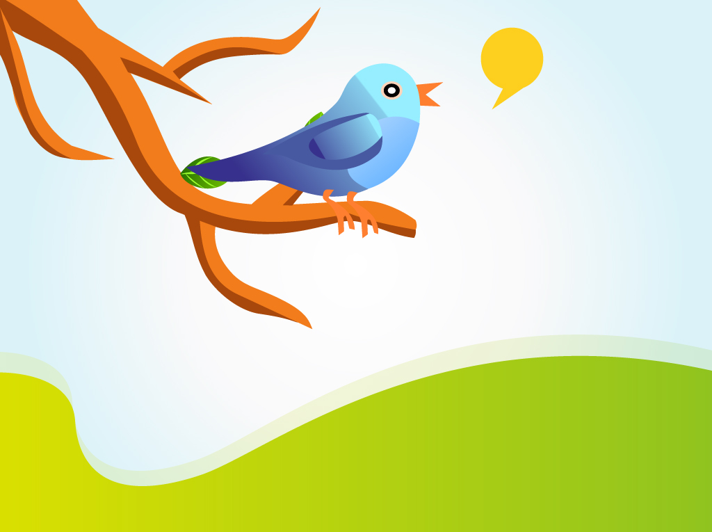 Singing Twitter Bird Vector