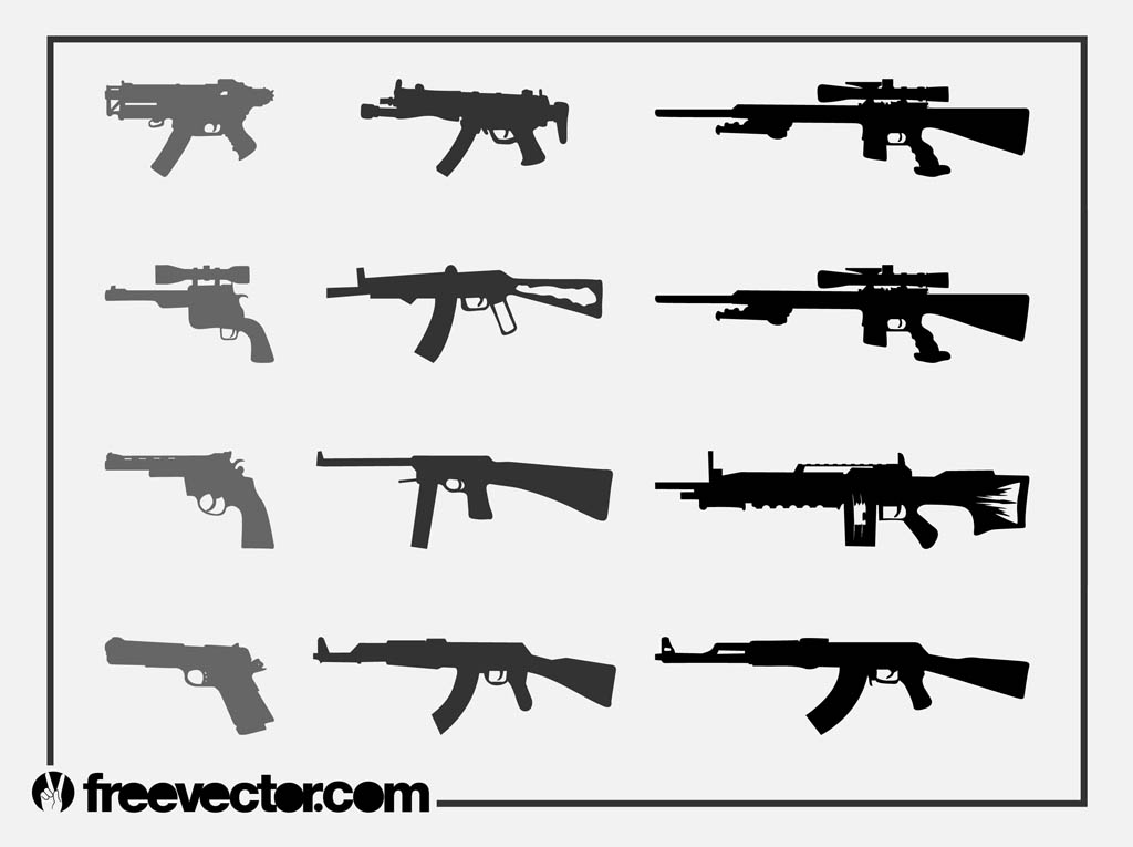 Firearms Silhouettes Set