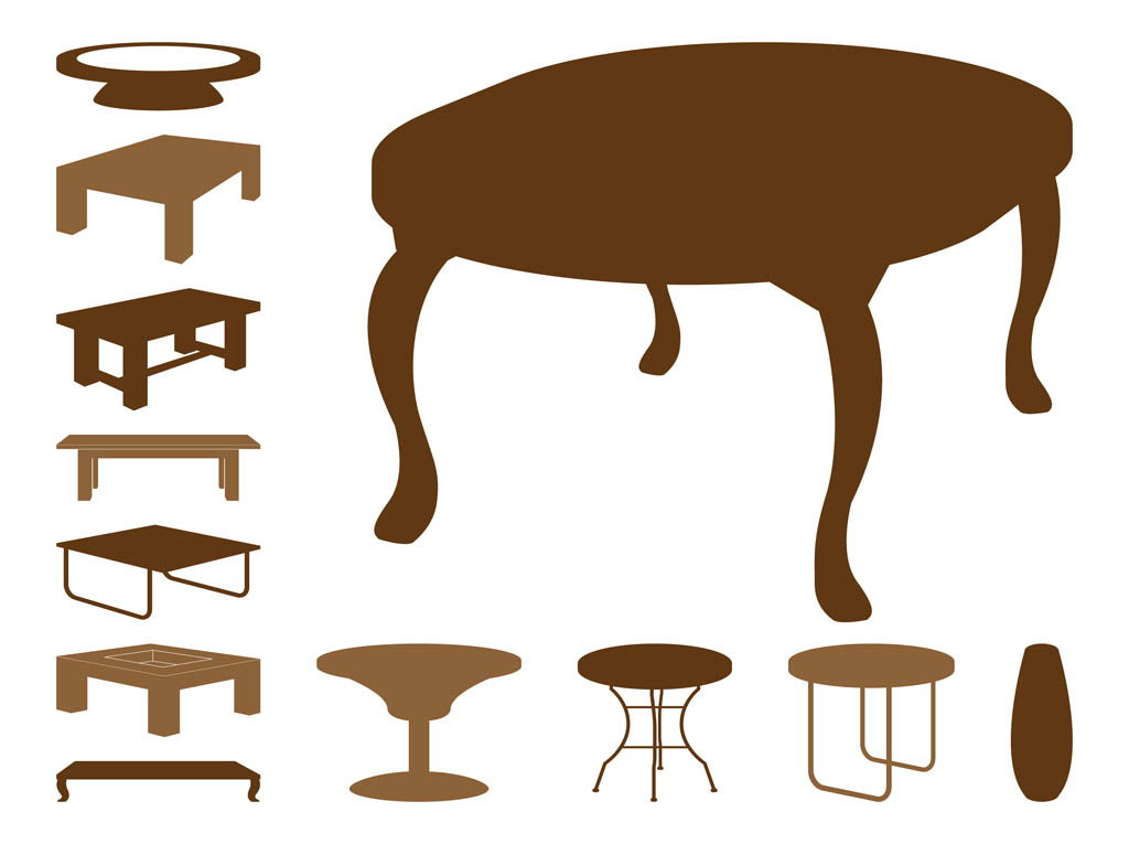 Table Silhouettes  Table Icon Vector