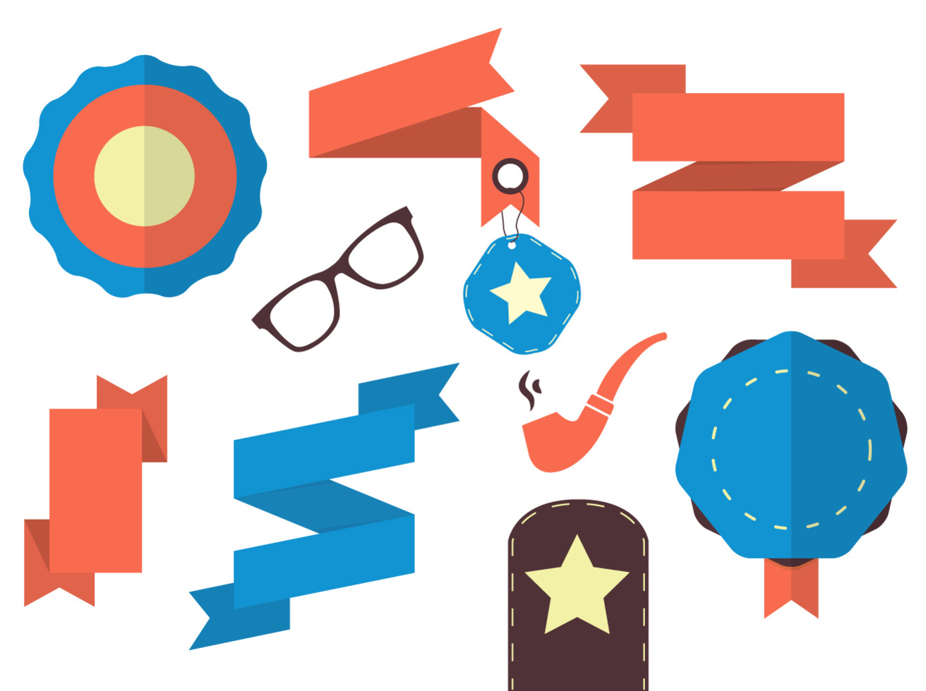 Hipster Ribbon Vectors