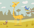 Cartoon Giraffe Free Vector