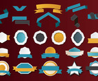 Ribbon and Badge Vector Illustrations