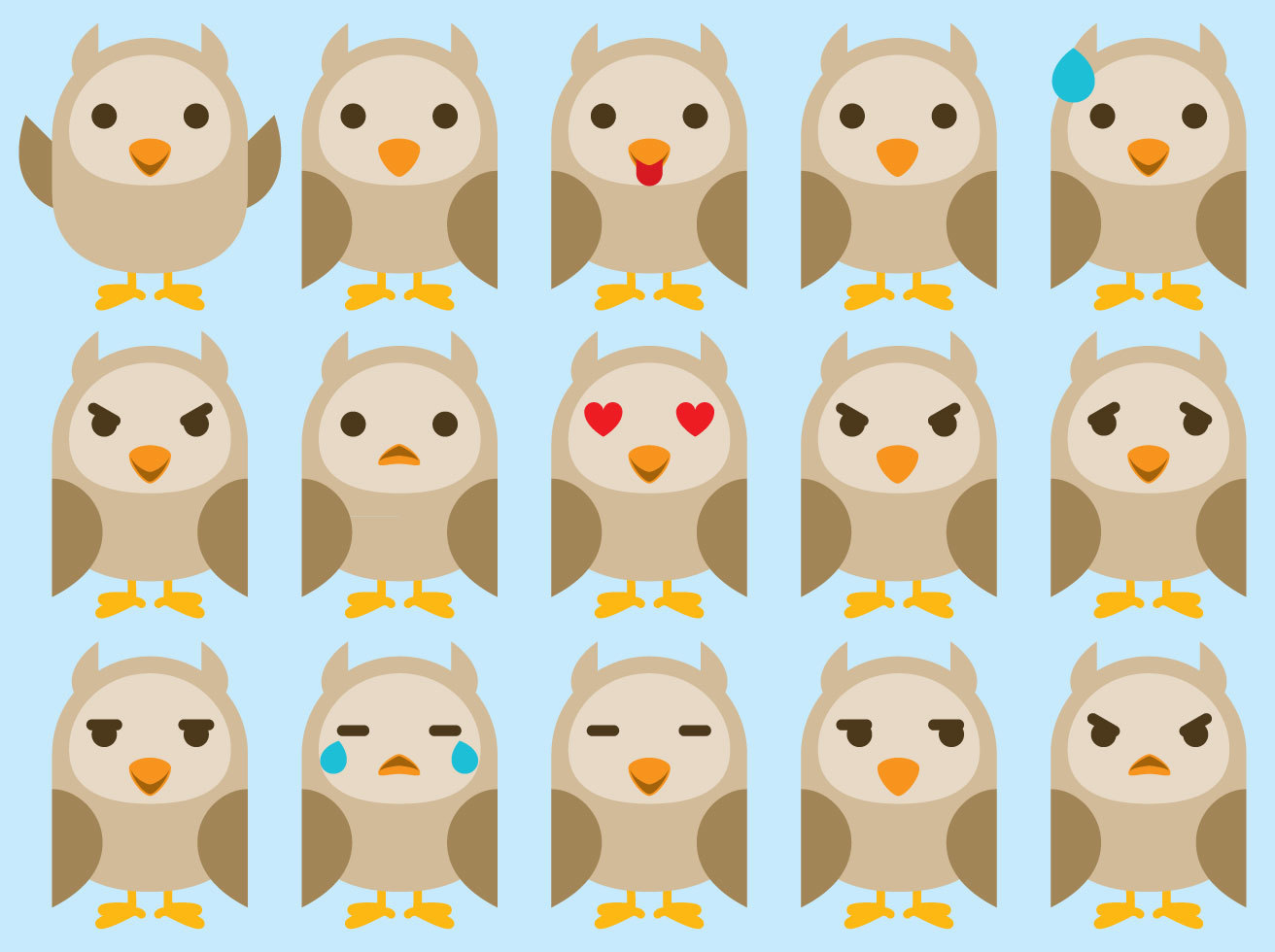 Owl Emoticon Vectors