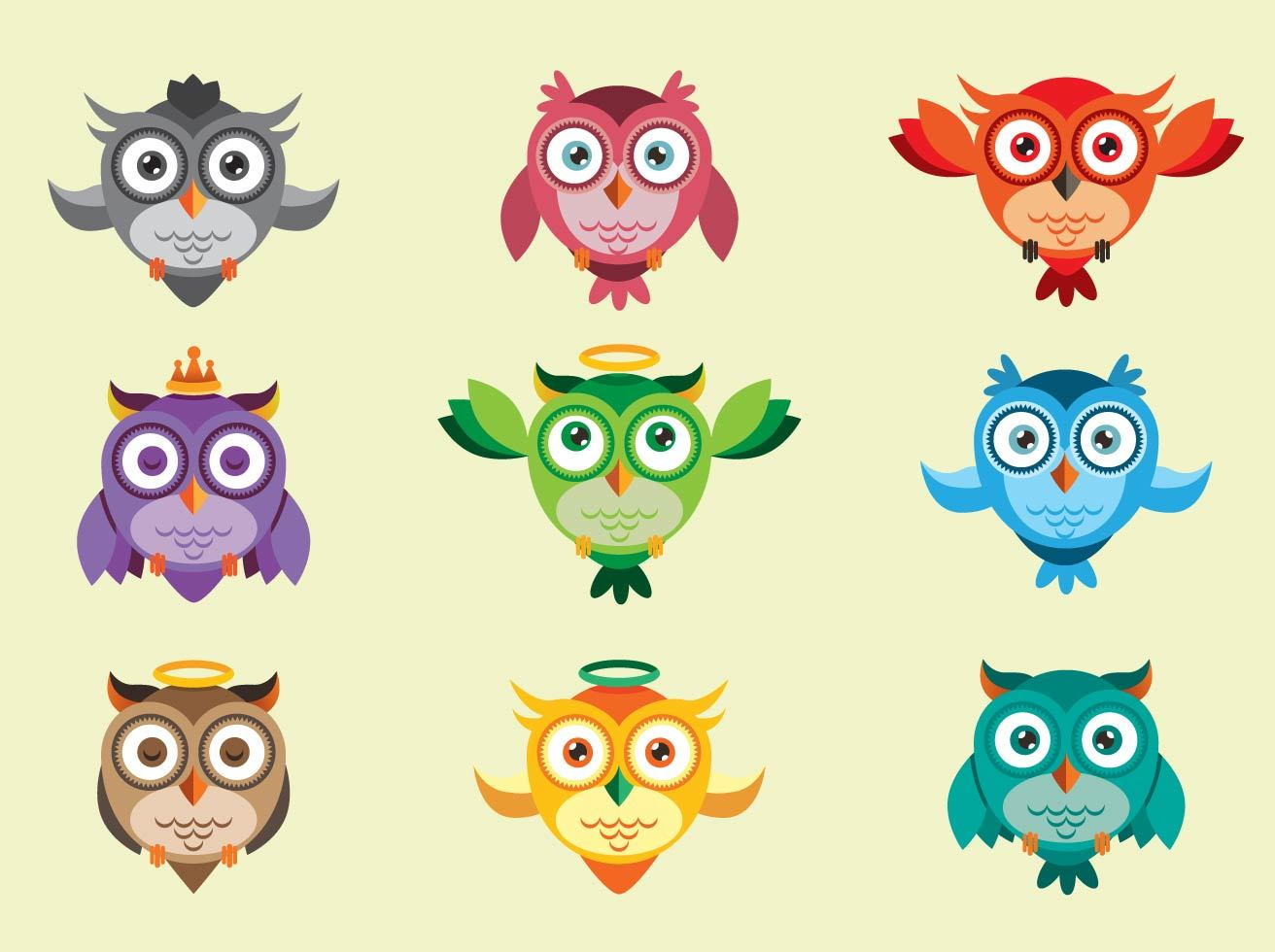 Cute Owl Icon Vectors