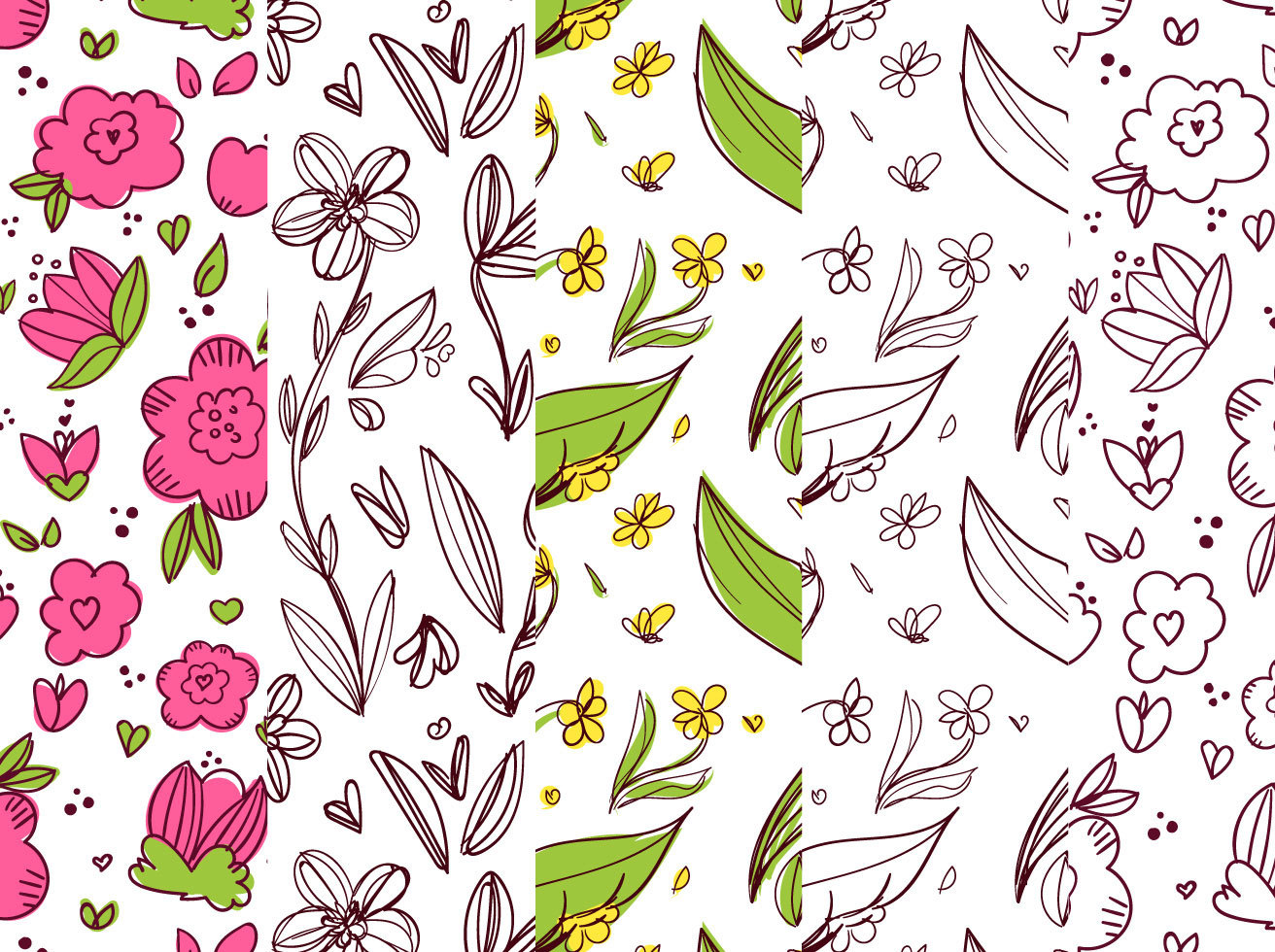 Floral Background Pattern Set