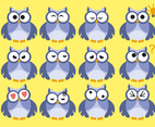 Owl Emoticon Vector Set