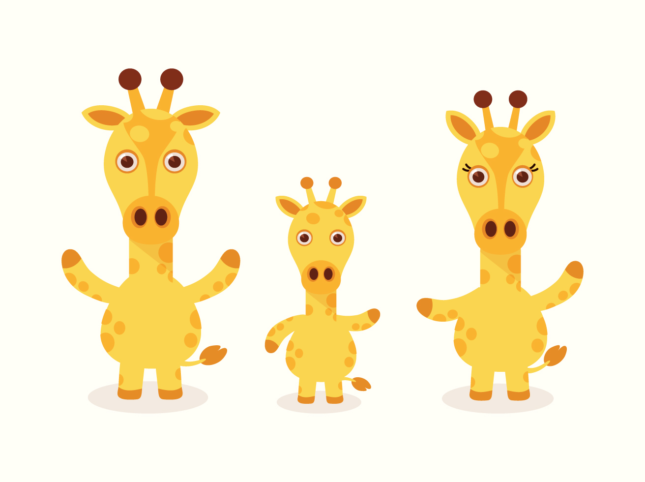 Free Vector Cartoon Giraffe Set