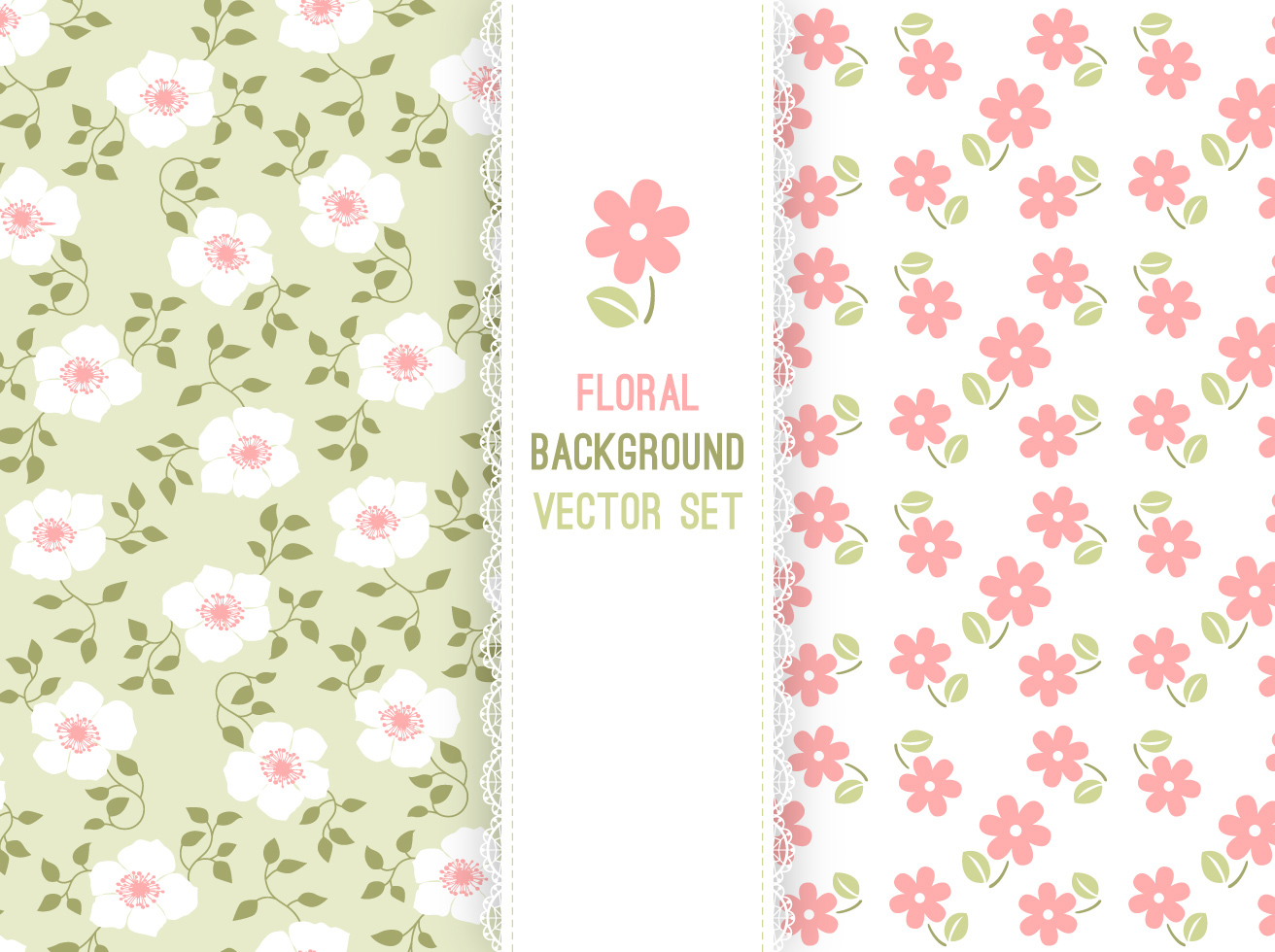 Free Pink Floral Background Free Vector Floral Background Set With on Pink Floral Background Vectors Free