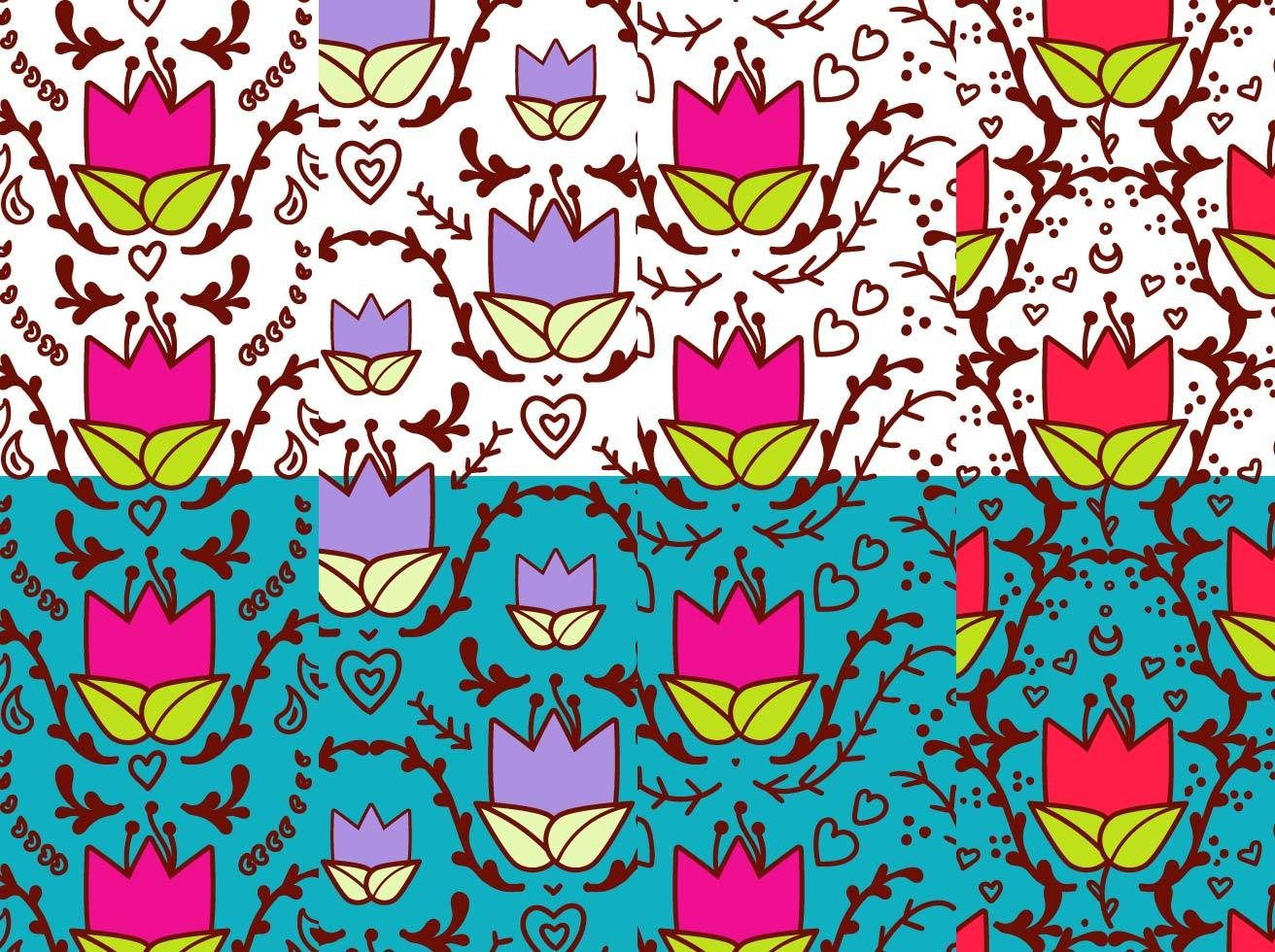 Cute Tulip floral Background Set